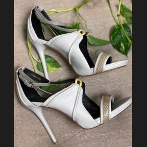 L.A.M.B Strappy Leather Open Toe High Heels
